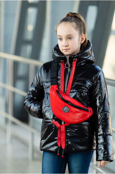 Куртка БЕРРИ демисезонная (черный лак/красный)