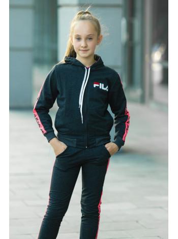 Детский спортивный костюм УМА д/дев. (т.серый/розовый)