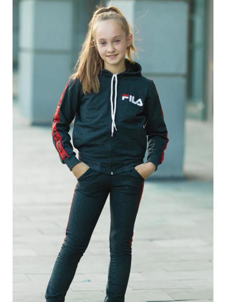 Детский спортивный костюм УМА д/дев. (т.серый/красный)