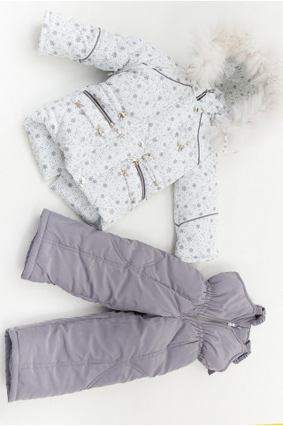 Зимний комплект КАРОЛИНА д/дев (белый+серебро+снежинки)