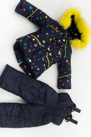 Зимний комплект КАРОЛИНА д/дев (т.синий+желтый+звездочки)