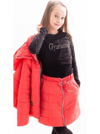 Куртка+юбка Двойка демисезонная д/дев (коралл)