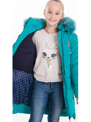 Зимняя куртка ЕВАНГЕЛИНА д/дев(бирюза)