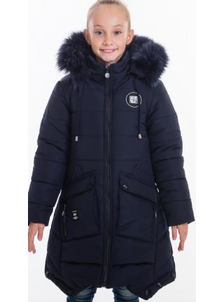 Зимняя куртка ИВЕТТА д/дев(т.синий)