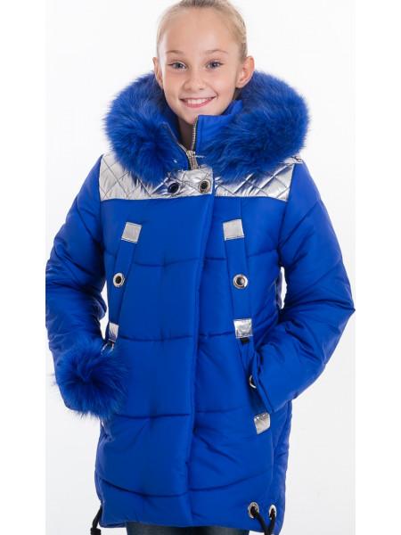 Зимняя куртка РЕГИНА д/дев(электрик/серебро)