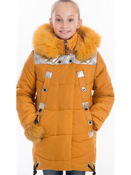 Зимняя куртка РЕГИНА д/дев(горчица/серебро)