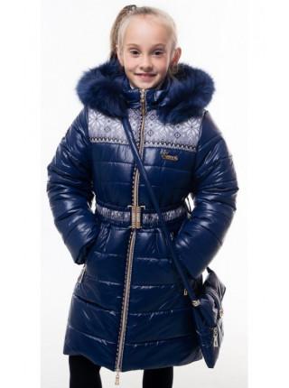 Пальто(зима) УЗОР с сумкой (т.синий)