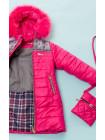Пальто(зима) УЗОР с сумочкой (малина)