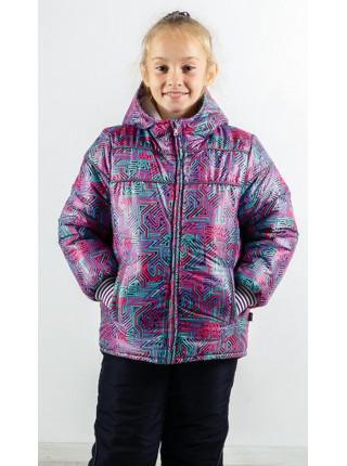 Зимний комплект ГЕНРИЕТТА для девочки.(фиолетовый+геометрия)