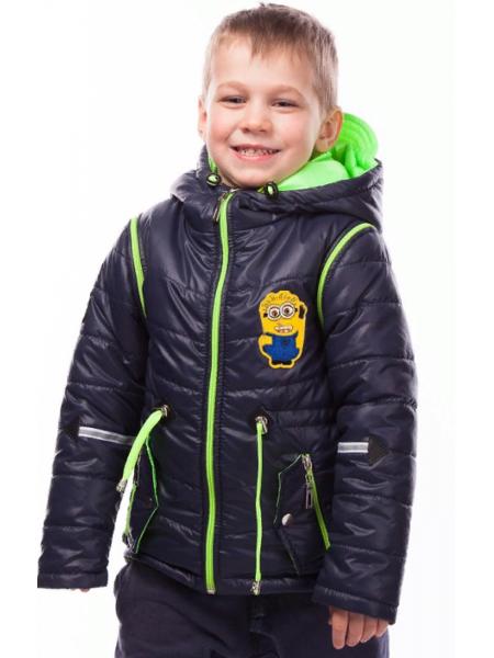 Куртка-жилет МУЛЬТИК демисезонная (т.синий+салатовый)