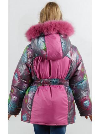 Зимняя куртка УСТИНЬЯ для девочки.(серый+розовый)