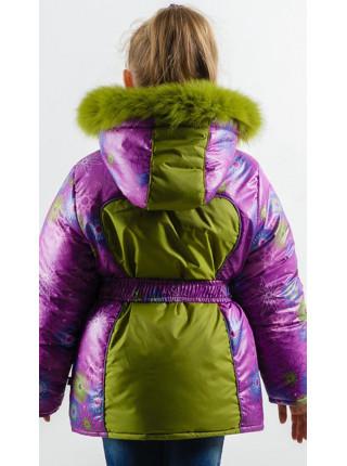 Зимняя куртка УСТИНЬЯ для девочки.(фиолетовый+яблоко)