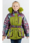 Зимняя куртка УСТИНЬЯ для девочки.(серый+яблоко)
