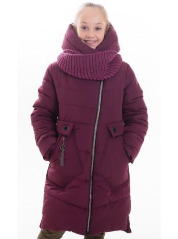 Зимнее пальто МАЛУША д/дев.+снуд (бордовый)