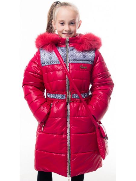 Пальто(зима) УЗОР д/дев с сумочкой (красный)