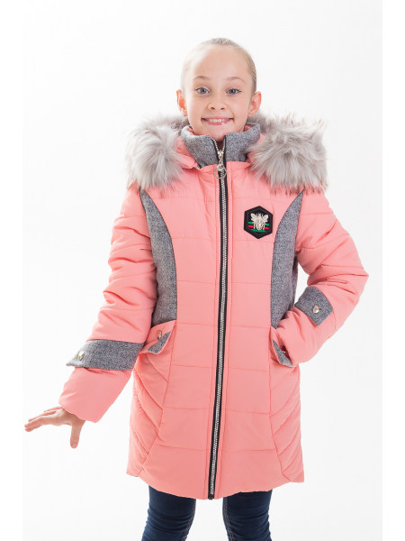 Куртка ЖАКЛИН зимняя (персик/серый)