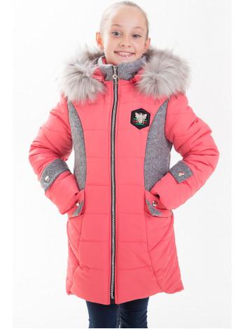 Куртка ЖАКЛИН зимняя (коралл/серый)